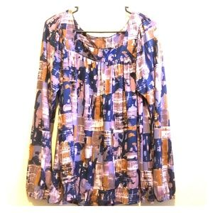 Daisy Fuentes sz Large watercolor long sleeve top